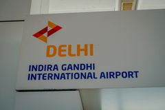 DELHI, INDIA - SEPTEMBER 19, 2017: Informative sign of Delhi in Indira Gandhi Internacional Airport of Delhi.  stock images