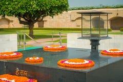 DELHI, INDIA - SEPTEMBER 25 2017: Modern grave in Rajghat, New Delhi as memorial at Mahatma Gandhis body cremation place Stock Image