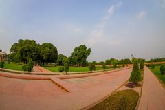 DELHI, INDIA - SEPTEMBER 25 2017: Outdoor view of the Sawan or Bhadon Pavilion in Hayat Baksh Bagh of Red Fort at Delhi. Fish eye effect Royalty Free Stock Images