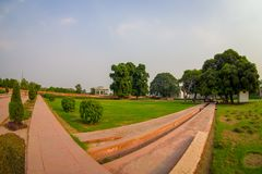 DELHI, INDIA - SEPTEMBER 25 2017: Outdoor view of the Sawan or Bhadon Pavilion in Hayat Baksh Bagh of Red Fort at Delhi. Fish eye effect Royalty Free Stock Photos