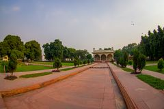 DELHI, INDIA - SEPTEMBER 25 2017: Outdoor view of the Sawan or Bhadon Pavilion in Hayat Baksh Bagh of Red Fort at Delhi. Fish eye effect Royalty Free Stock Photography