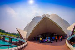 Delhi, India - September 27, 2017: Unidentified people inside of the huge stoned structure Lotus Temple, near of an Stock Photography
