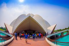 Delhi, India - September 27, 2017: Unidentified people inside of the huge stoned structure Lotus Temple, near of an Stock Images