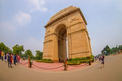 DELHI, INDIA - SEPTEMBER 19, 2017: Unidentified people walking in front of the India Gate, formerly known as the All. India War Memorial at Rajpath, New Delhi Stock Photography