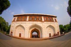 DELHI, INDIA - SEPTEMBER 25 2017: View of the Sawan or Bhadon Pavilion in Hayat Baksh Bagh of Red Fort at Delhi Stock Images