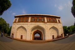 DELHI, INDIA - SEPTEMBER 25 2017: View of the Sawan or Bhadon Pavilion in Hayat Baksh Bagh of Red Fort at Delhi. Decorated with white marble, depicting Mughal Stock Image