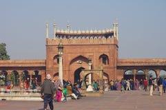 DELHI INDIA, STYCZEŃ, - 03: Widok Jama Masjid meczet Fotografia Stock