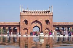 DELHI INDIA, STYCZEŃ, - 03: Widok Jama Masjid meczet Zdjęcia Royalty Free