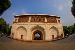 DELHI INDIA, WRZESIEŃ, - 25 2017: Widok Sawan lub Bhadon pawilon w Hayat Baksh Bagh Czerwony fort przy Delhi Obraz Stock