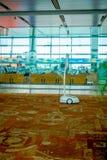 DELHI INDIEN - SEPTEMBER 19, 2017: Inomhus sikt av robotkundtjänst som deltar i inom av den internationella flygplatsen Royaltyfria Bilder
