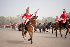 DELHI - JANUARY 20: Mounted Lancers practice for the annual Republic Day Parade on stock image