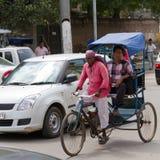 DELHI, LA INDIA 29 DE AGOSTO: Trishaw indio 29, 2011 en Delhi, la India Imagen de archivo