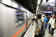 Delhi metro passengers Royalty Free Stock Photo