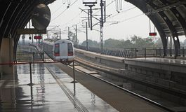 Delhi Metro Rail Mass  Public Transit India. A view of the New Delhi Metro Rail. The New Mass Public Transit railroad system in the Urban and metropolitan areas Stock Photo