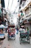 delhi nya gammala delrickshas Fotografering för Bildbyråer