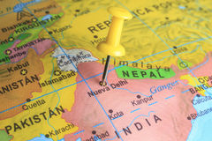 Delhi pinned on a map of India.  Royalty Free Stock Photo