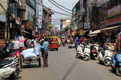 Delhi Sadar Bazar Market with full of Crowd. royalty free stock image