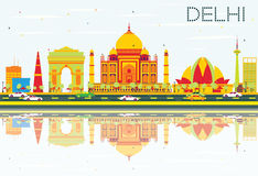 Delhi Skyline with Color Buildings, Blue Sky and Reflections. Royalty Free Stock Photos