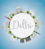 Delhi skyline with gray landmarks, blue sky and copy space. Royalty Free Stock Photography