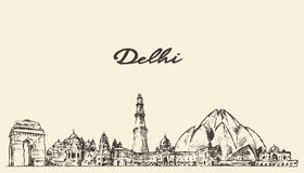 Delhi skyline vector illustration hand drawn Royalty Free Stock Photos