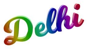 Delhi-Stadt-Name kalligraphisches 3D machte Text-Illustration gefärbt mit RGB-Regenbogen-Steigung Lizenzfreie Stockfotografie