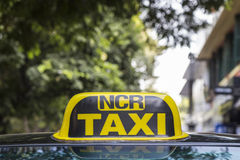 Delhi taxi yellow cab Royalty Free Stock Photo