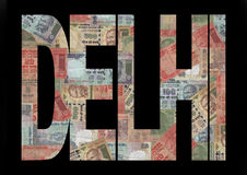 Delhi-Text mit Rupien Lizenzfreie Stockfotos