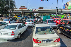 Delhi traffic heade down town Royalty Free Stock Image