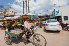 DELI, ÍNDIA 29 DE AGOSTO: Trishaw indiano 29, 2011 em Deli, Índia Foto de Stock Royalty Free