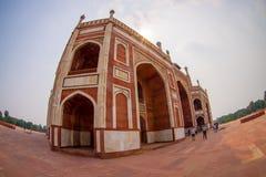 DELI, ÍNDIA - 19 DE SETEMBRO DE 2017: Feche acima do túmulo de Humayun s, Deli, Índia, ele é o túmulo do imperador de Mughal Fotos de Stock Royalty Free