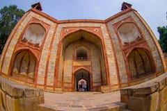 DELI, ÍNDIA - 19 DE SETEMBRO DE 2017: Feche acima do túmulo de Humayun s, Deli, Índia Local do patrimônio mundial do UNESCO, é o  Foto de Stock Royalty Free