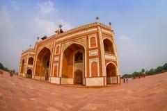 DELI, ÍNDIA - 19 DE SETEMBRO DE 2017: Feche acima do túmulo de Humayun s, Deli, Índia Local do patrimônio mundial do UNESCO, é o  Imagem de Stock