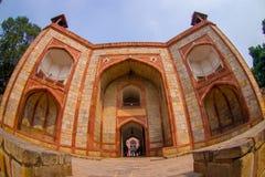 DELI, ÍNDIA - 19 DE SETEMBRO DE 2017: Feche acima do túmulo de Humayun s, Deli, Índia Local do patrimônio mundial do UNESCO, é o  Fotografia de Stock