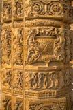 DELI, ÍNDIA - 25 DE SETEMBRO DE 2017: Feche acima dos detalhes de carvings decorativos no complexo de Qutub em Deli, Índia Foto de Stock Royalty Free