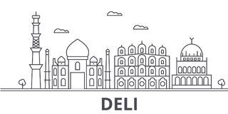 Deli architecture line skyline illustration. Linear vector cityscape with famous landmarks, city sights, design icons. Editable strokes royalty free illustration