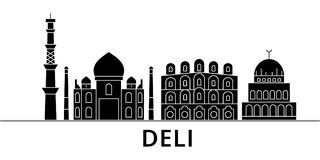 Deli architecture vector city skyline, travel cityscape with landmarks, buildings, isolated sights on background. Deli architecture vector city skyline, black Stock Image