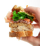 Deli club sandwich. With lettuce and bacon isolated on white stock image