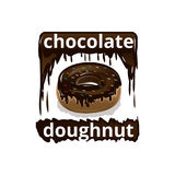 Deli doughnut illustration. Chocolate doughnut illustration, isolated on white background Royalty Free Stock Photography