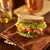 Deli meat sandwich with turkey Royalty Free Stock Photos