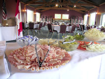 Deli Meat Tray, Banquet Hall. A delicious offering on a buffet table in a banquet hall royalty free stock images