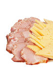 Deli meats and cheese on a plate Stock Photos