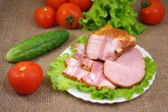 Deli meats with vegetables Royalty Free Stock Photography