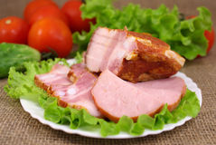 Deli meats with vegetables Stock Photo
