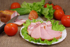 Deli meats with vegetables Stock Image