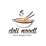 Deli noodle logo. Noodle on pan logo isolated on white background Stock Photography