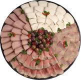Deli platter. Assorted deli meats arranged on platter for party Royalty Free Stock Photos