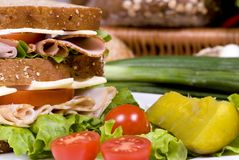 Deli Sandwich 006. A fresh deli sandwich with tomatoes swiss chees, lettuce and lots of meat Stock Image
