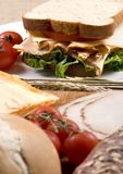Deli Sandwich 011. A fresh deli sandwich with tomatoes cheese, lettuce and lots of turkey meat Royalty Free Stock Photo