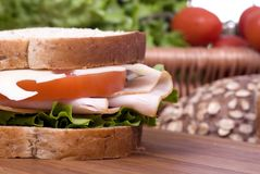 Deli Sandwich. A fresh deli sandwich with tomatoes swiss chees, lettuce and lots of meat Stock Photography