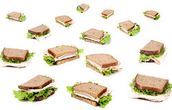 Deli Sandwich. A fresh deli sandwich with lots of meat and green lettuce Royalty Free Stock Photo